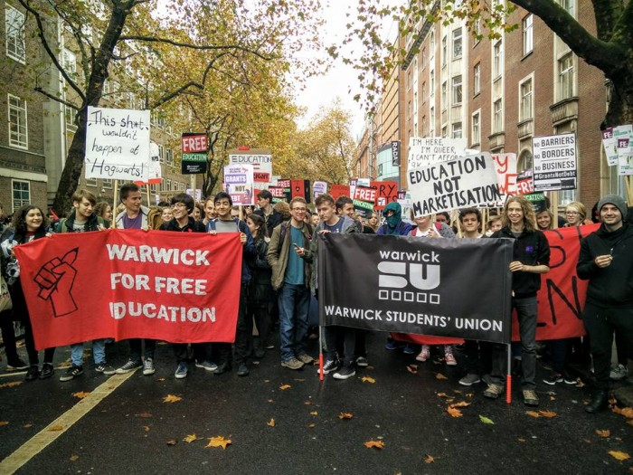 WFFE and others assemble at the start of the 'Grants not debt' rally in London on Nov. 4, which they led. Image: Warwick For Free Education
