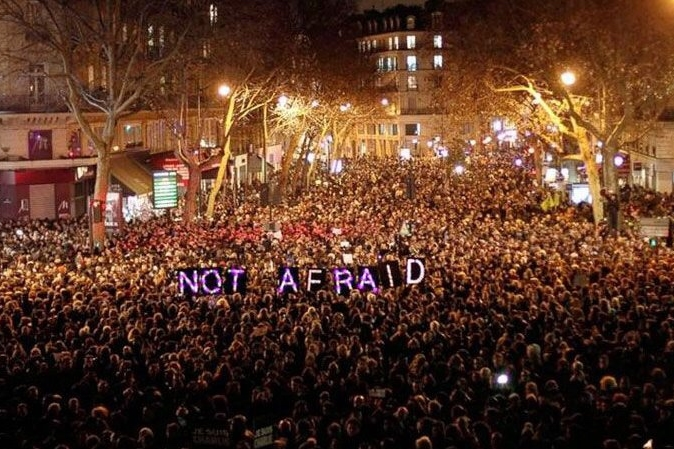 March in Paris in January after the Charlie Hebdo shootings. Image: ERIC SALARD