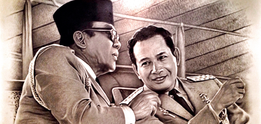 Figure 1: Portrait of then-President Sukarno (left) and General Suharto, who would overthrow the President in a bloody 1965 coup. Image: Billy Simpson