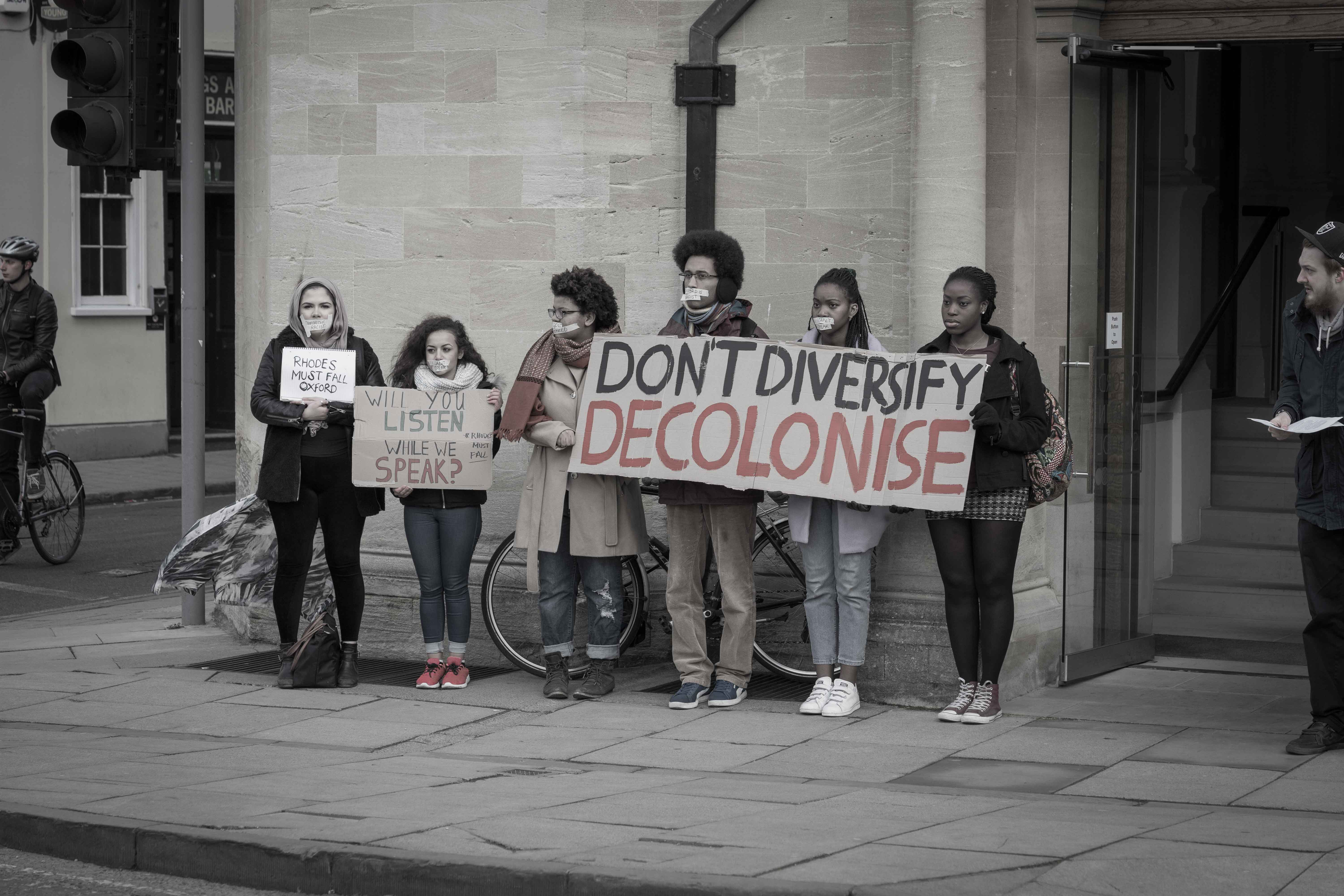 Members of Rhodes Must Fall in Oxford protest a 'diversity' event at 'The Old Indian Institute'. Image: George Edwards