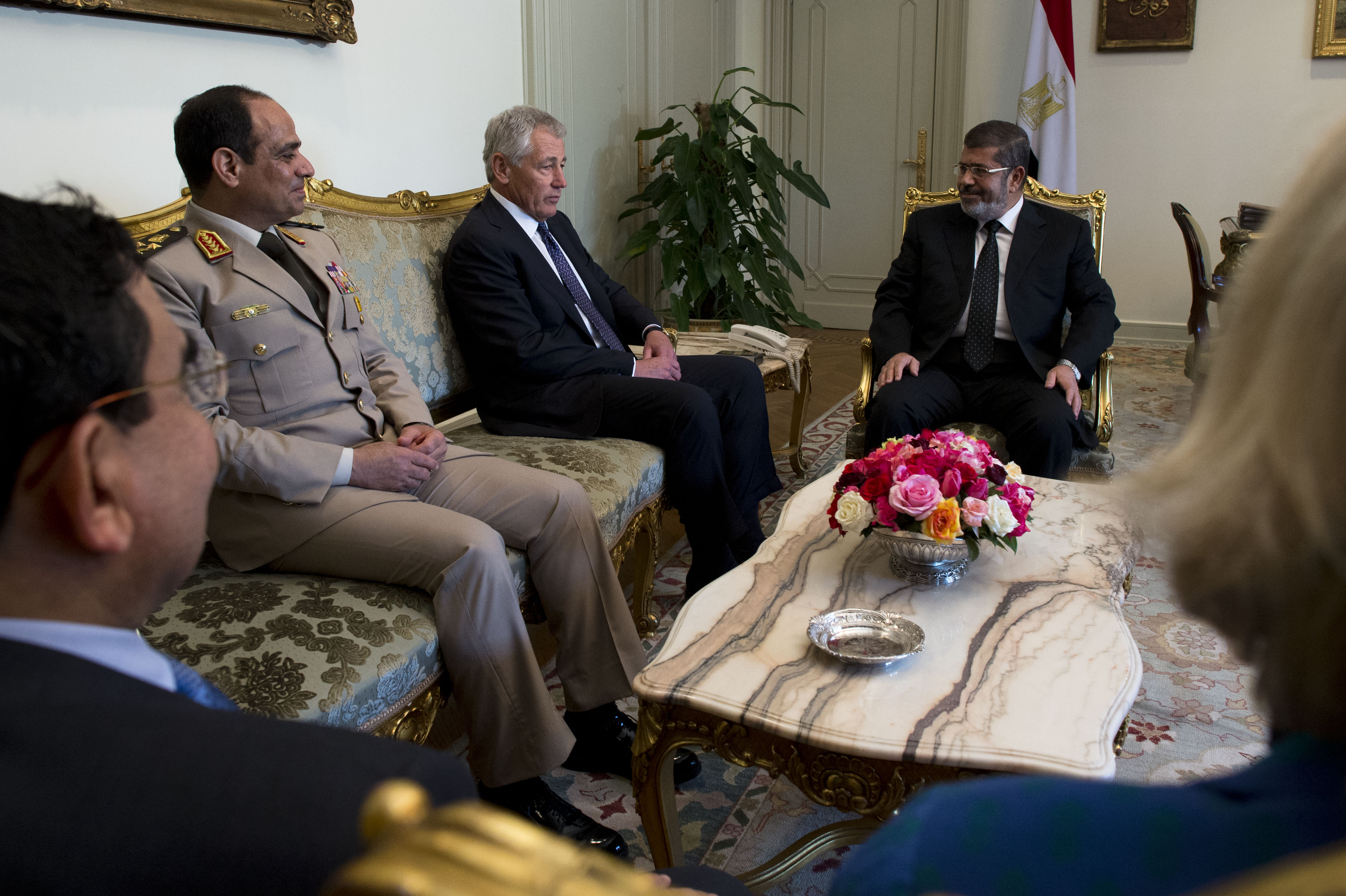 Ephemeral alliance: Then-US Defence Secretary Chuck Hagel meets with then-President of Egypt Muhammad Morsi and General Sisi, who would lead a coup in 2013. Image: Erin A. Kirk-Cuomo