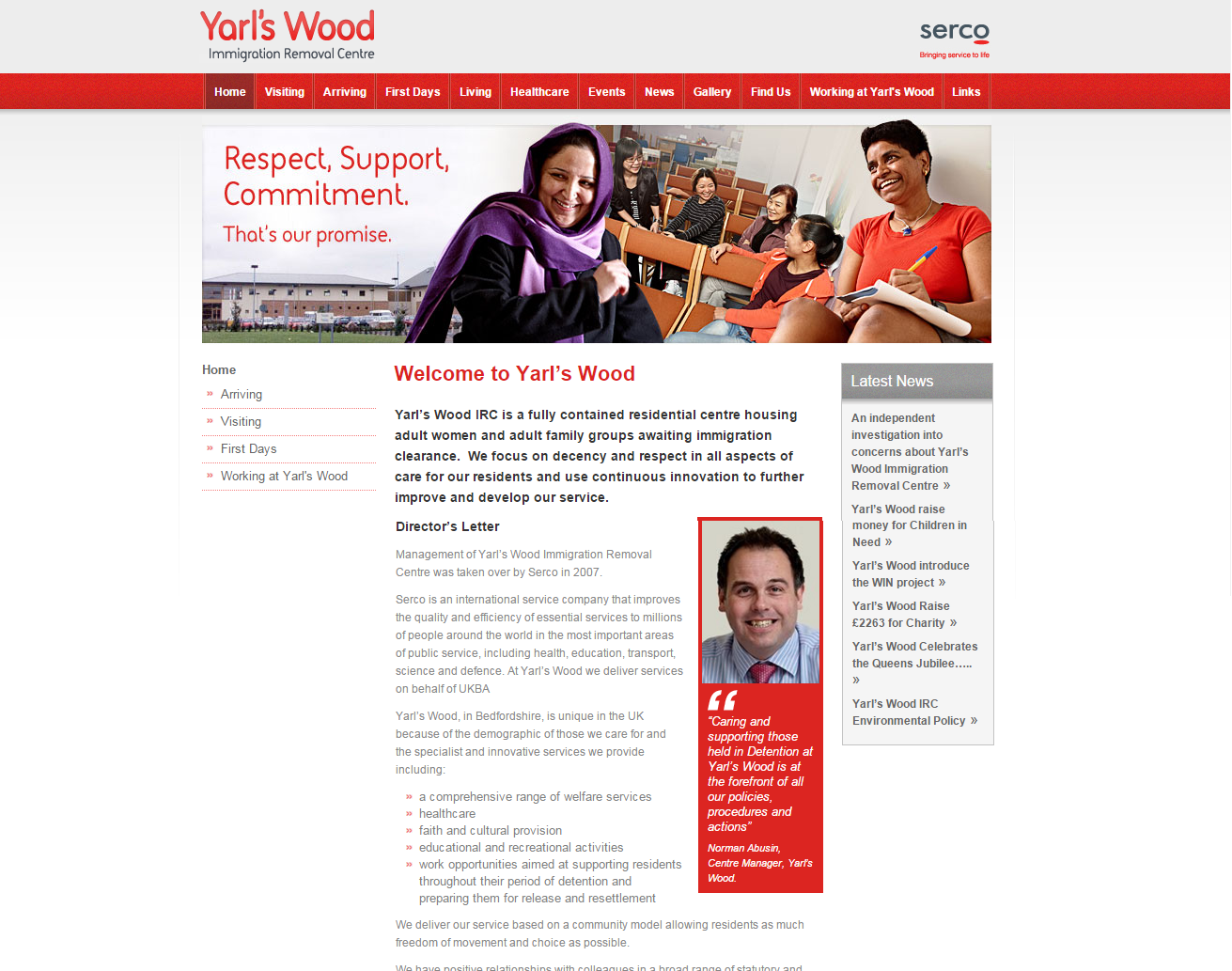 Screen shot from the Yarl's Wood detention centre website.