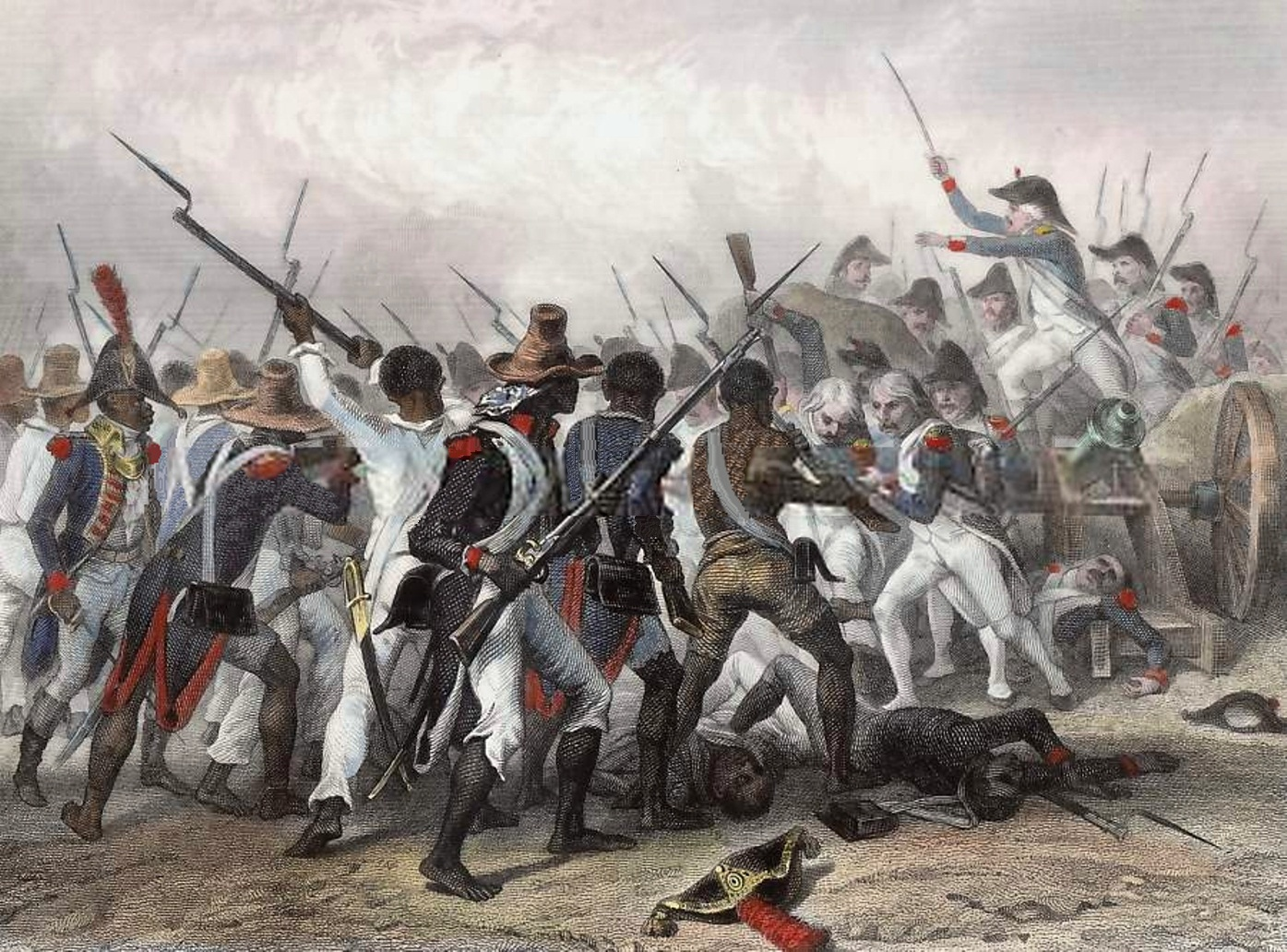 Figure 1: The Battle of Vertières, Nov. 18, 1803, one of the final defeats of the French in the 13 year revolution. Painting by Auguste Raffet.