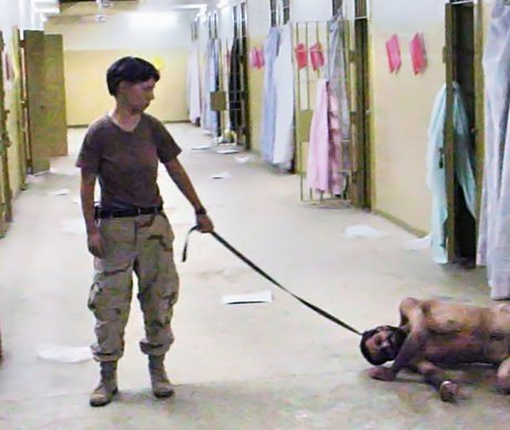 The most vivid public face of torture during the Iraq War. Abu Ghraib, 2003.