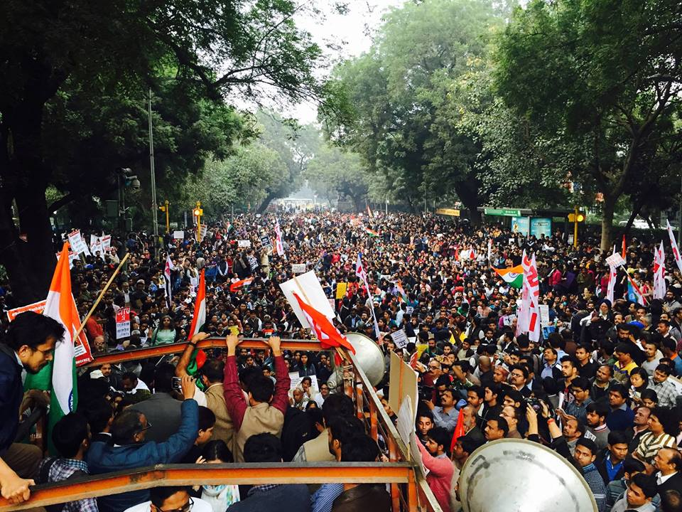 A protest march from Mandi House to Jantar Mantar | Stand with JNU Image: Stand with JNU