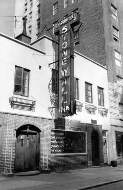 "Stonewall Inn, 1969. The sign in the window, posted by homophile activists, reads: ""We homosexuals plead with our people to please help maintain peaceful and quiet conduct on the streets of the Village."" By Diana Davies, copyright owned by New York Public Library."
