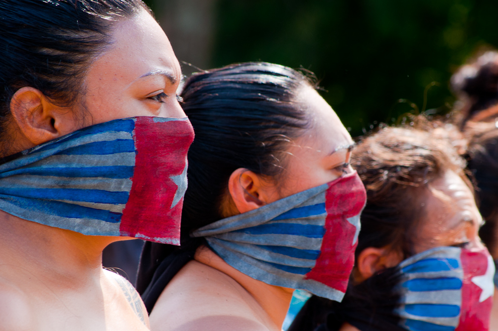 Protesters with Morning Star flag face masks in 2014. Image: Dominic Hartnett.