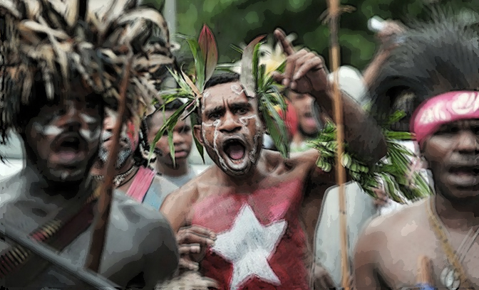 West Papuans protesting against Indonesian rule. Image: AK Rockefeller.