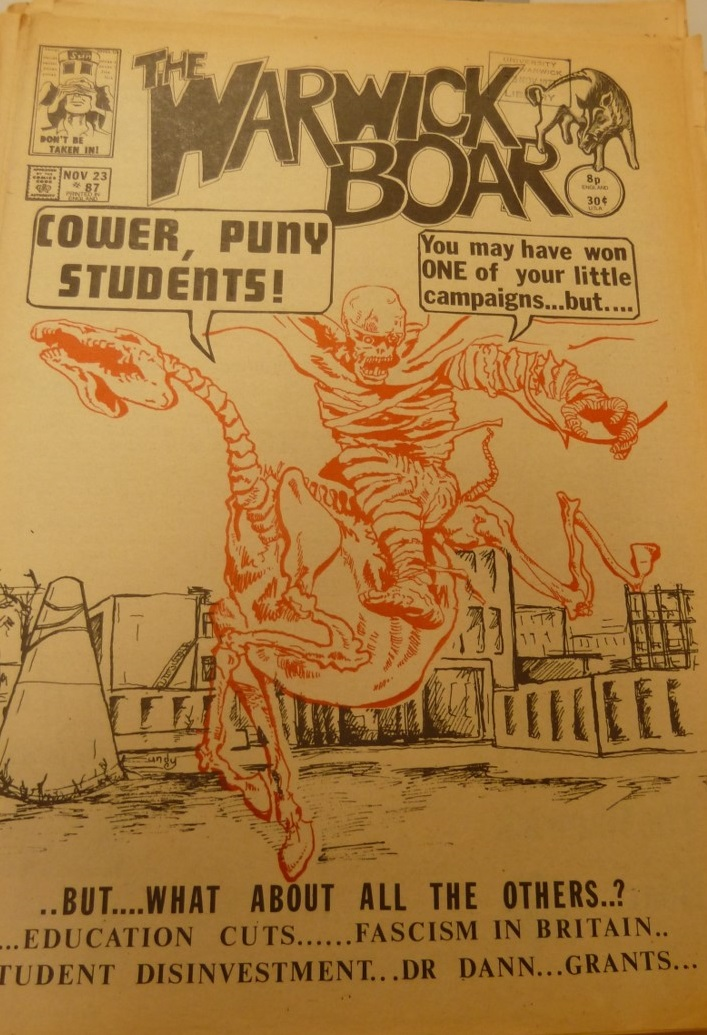 The front cover of the Warwick Boar after student succeeded in getting Warwick to divest from Barclay's bank during the anti-Apartheid struggle in the late 70s.