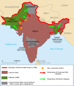 Movement of individuals across newly created borders at the time of the Partition of British India in 1947 Wikimedia Commons