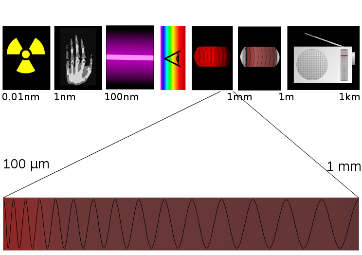 Terahertz waves lie at the far end of the infrared band, just before the start of the microwave band. [Credit: Tatoute, Wikipedia]