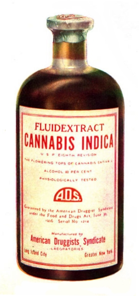 Cannabis indica fluid extract, American Druggists Syndicate, pre-1937. [Wikimedia Commons]
