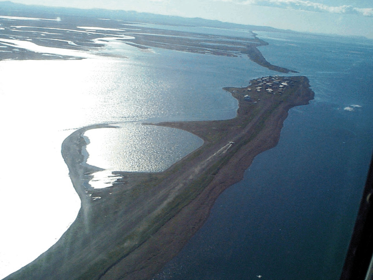 Aerial view of Kivalina, Alaska, USA. View is to the southeast. [Credit: U.S. Army Corps of Engineers Digital Visual Library]